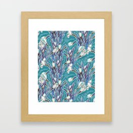 Crocuses, floral pattern in turquoise, blue and white Framed Art Print