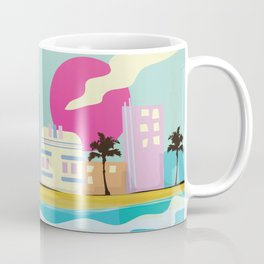 Retro 1980s Miami cartoon seafront Coffee Mug