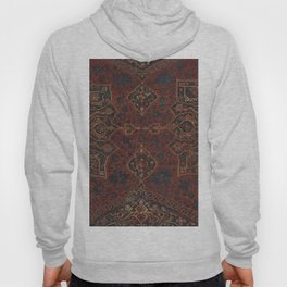 Boho Chic Dark V // 17th Century Colorful Medallion Red Blue Green Brown Ornate Accent Rug Pattern Hoody