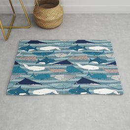 Origami Sea // linen texture and nautical stripes background teal white and taupe whales Rug