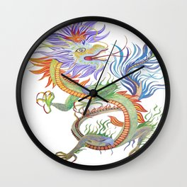 Bright and Vivid Chinese Fire Dragon Vector Wall Clock