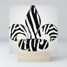 Black and White Zebra Stripe Fleur De Lis Mini Art Print
