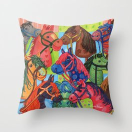 Happy Hobby-Horses Throw Pillow