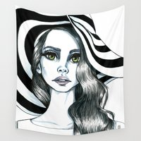 hat Wall Tapestries featuring Miss hat by Lagoonartastic