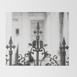 New Orleans Marigny Black and White Fence Throw Blanket