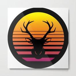 Deer Head Silhouette, Stag Head Antlers Retro Sunset ClipArt Metal Print