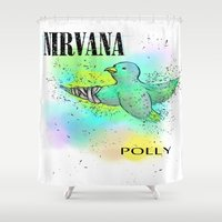 nirvana Shower Curtains featuring polly / nirvana by Dan Solo Galleries