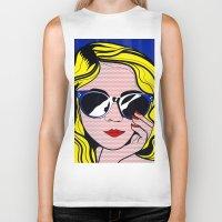 lichtenstein Biker Tanks featuring Pop Art Glamour Girl by Alli