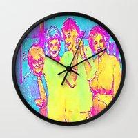 golden girls Wall Clocks featuring Golden Girls by americanmikey