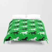 unicorns Duvet Covers featuring Unicorns by Fabian Bross