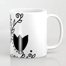 Three Tulips Doodle Art – Black Graphic Coffee Mug