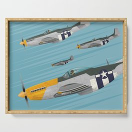 P51 Mustang Flying in Formation Serving Tray