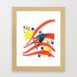 Snowboard Illustration Framed Art Print