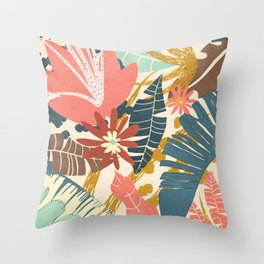 Tropical Flowers and Leaves Throw Pillow