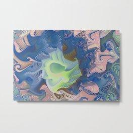Retro blue green rose fractal Metal Print
