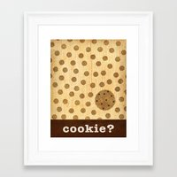 cookie Framed Art Prints featuring cookie? by Linda Tieu