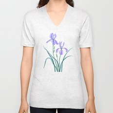 vintage purple iris watercolor Unisex V-Neck