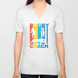Vintage 1970's Style Rugby Coach Graphic Unisex V-Neck