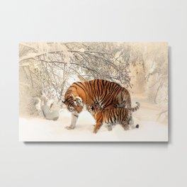 Tiger & Cub In Winter Scene Mural Metal Print
