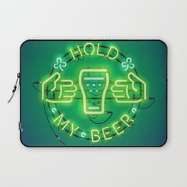 Hold My Beer Neon Sign Green Laptop Sleeve
