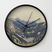 kurt cobain Wall Clocks featuring Mountain Flowers by Kurt Rahn
