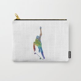 Man skateboard 04 in watercolor Carry-All Pouch