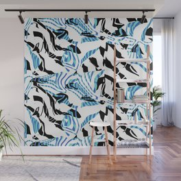 Turquoise Blue Sharp Angular Shapes on Monochrome Texture Wall Mural