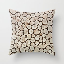 Background of wooden slices tree Throw Pillow