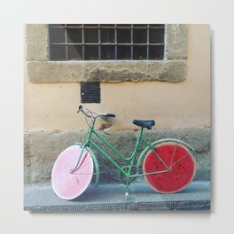 Watermelon Bicycle in Florence Metal Print