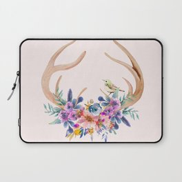 Antlers with Flowers Laptop Sleeve