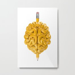 Pencil Brain Metal Print