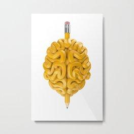 Pencil Brain Metal Print