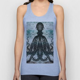 Octopus In Stormy Water Unisex Tank Top