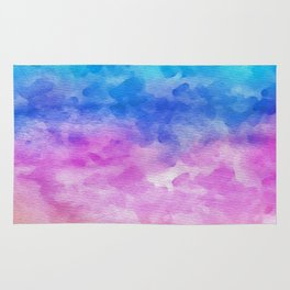 Abstract coral pink teal watercolor gradient pattern Rug