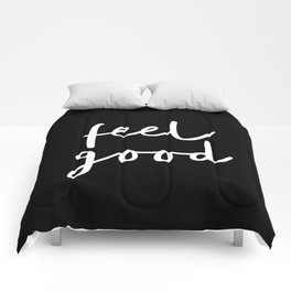Feel Good black and white contemporary minimalism typography design home wall decor bedroom Comforters