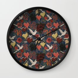 LOVE Vintage Pattern Wall Clock