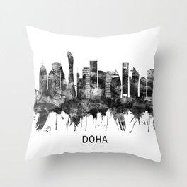 Doha Qatar Skyline BW Throw Pillow