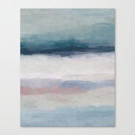 Dark Teal Blue, White, Pink, Light Blue Modern Wall Art, Ocean Waves Diptych Nursery Beach Decor Art Canvas Print