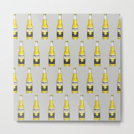 Corona Beer Bottle, Pop-Art Pattern, Gray Metal Print
