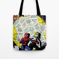 verse Tote Bags featuring Days of Spider Verse by Chance L