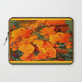 Sage Green Art Golden California Poppies Design Laptop Sleeve