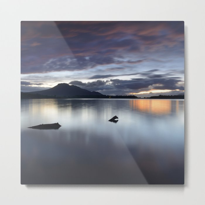 Purple. Sunset at the lake after the storm Metal Print