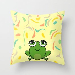 Cute frog looking up Throw Pillow