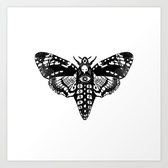 Moth linocut black and white minimal modern art print square moths nature Art Print