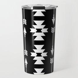 Southwestern Arrow Pattern 235 Black and White Travel Mug