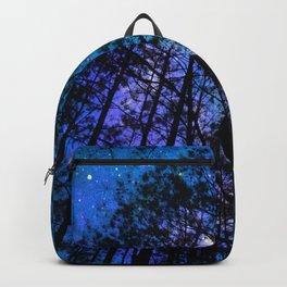 Black Trees Teal Purple Space Backpack