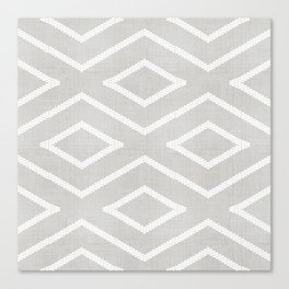 Stitch Diamond Tribal Print in Grey Canvas Print