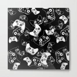 Video Game White on Black Metal Print