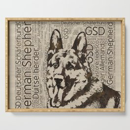 German Shepherd Dog - Wooden Texture  on Canvas Serving Tray