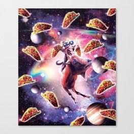 Thug Space Cat On Goat Unicorn - Taco Canvas Print
